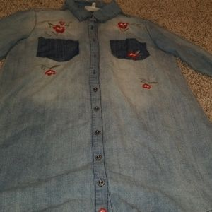 Jean dress with floral design